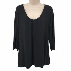 NWT Chico's Black Stretch Knit Scoop Neck Blouse M